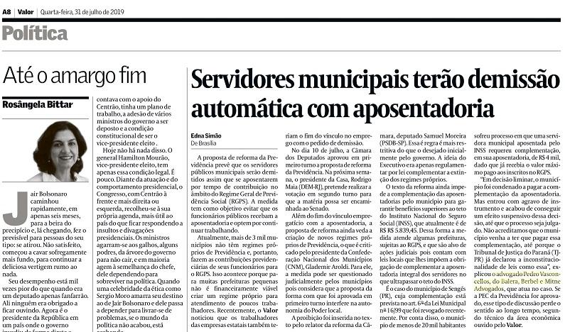 Advogado previdenciário do Balera, Berbel e Mitne é entrevistado pelo Valor Econômico